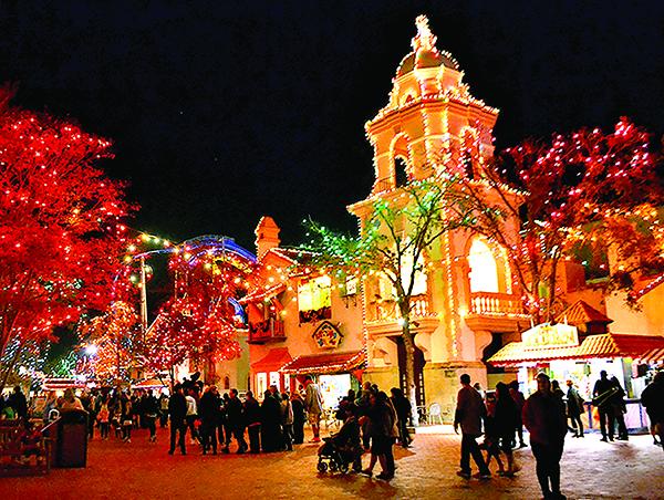 Six Flags Fiesta Texas lights in the winter