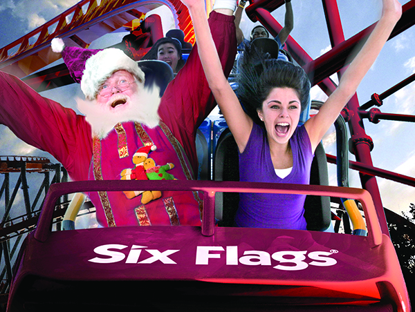 Woman rides six flags roller coaster with santa claus