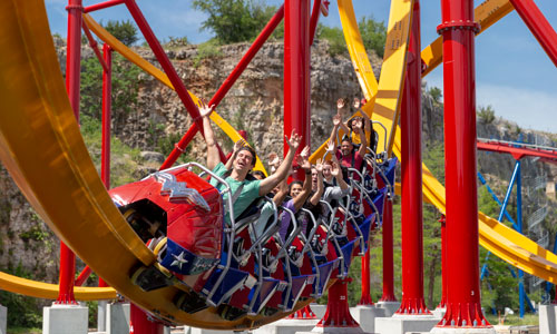 wonder woman rollercoaster at Six Flags Fiesta Texas