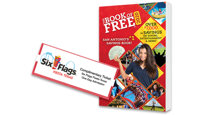 2020 Book of Free with 1 Six Flags Fiesta Texas ticket
