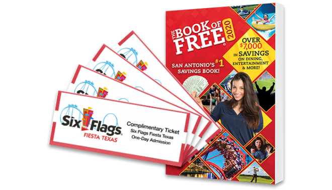 2020 Book of Free with 4 Six Flags Fiesta Texas tickets