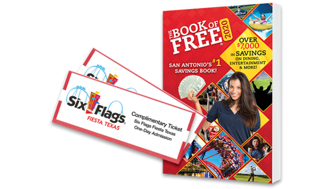 2020 Book of Free with 2 Six Flags Fiesta Texas