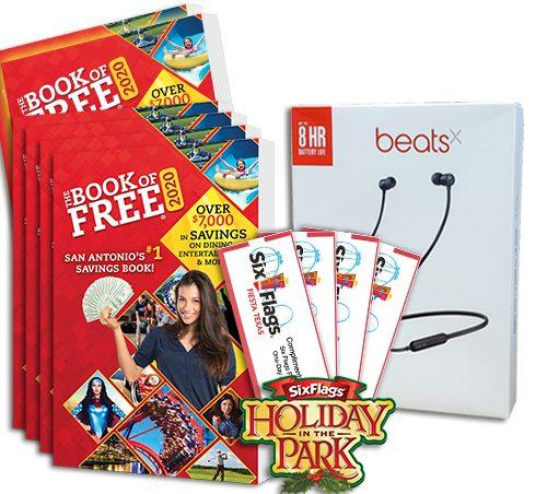 2020 Book of Free with 4 Six Flags Fiesta Texas tickets plus BeatsX earphones