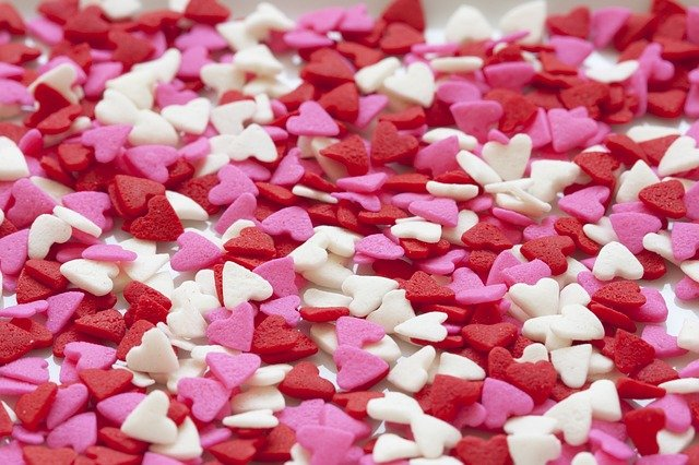 heart shaped candy sprinkles